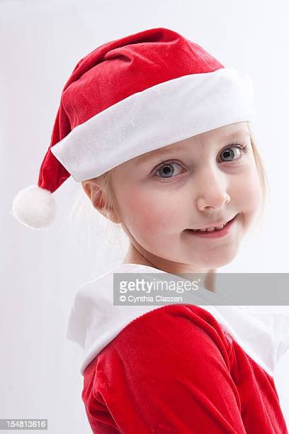 Portrait of Girl (7) in Santa hat