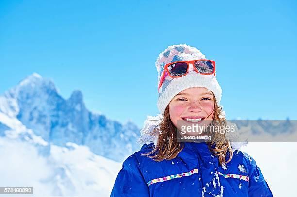 Portrait of girl in winter clothing, Chamonix, France