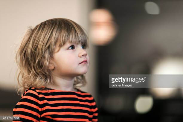 portrait of girl looking away - bangs hair stock pictures, royalty-free photos & images