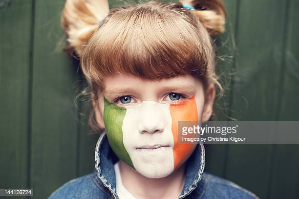 portrait of girl - irish flag stock pictures, royalty-free photos & images