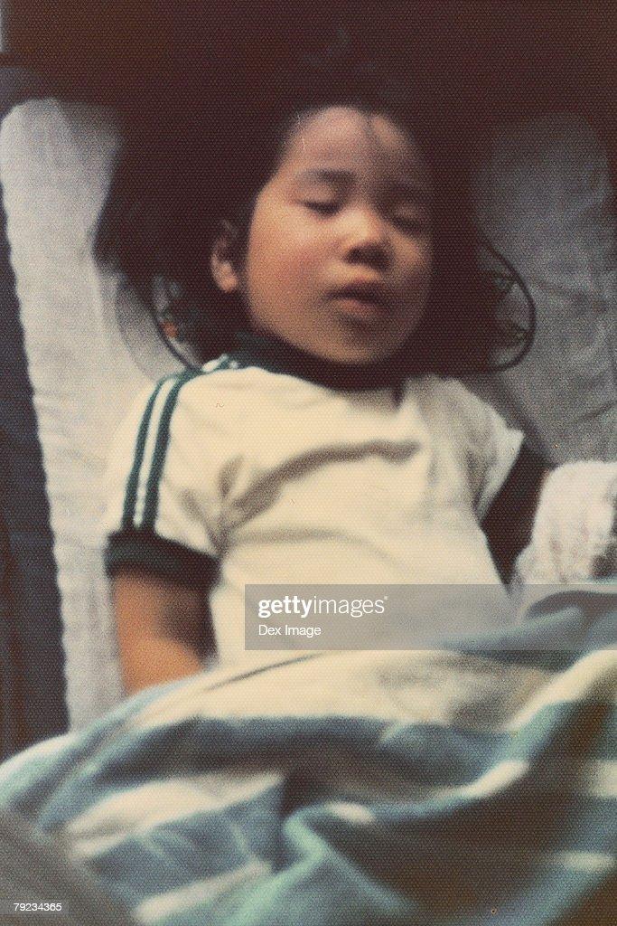 Portrait of girl sleeping : Stock Photo