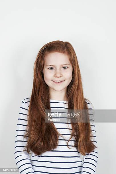 portrait of girl smiling - redhead girl stock photos and pictures