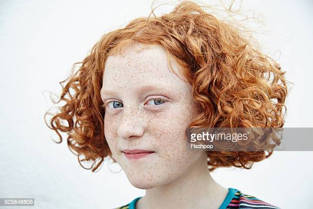 portrait of girl smiling - redhead stock pictures, royalty-free photos & images