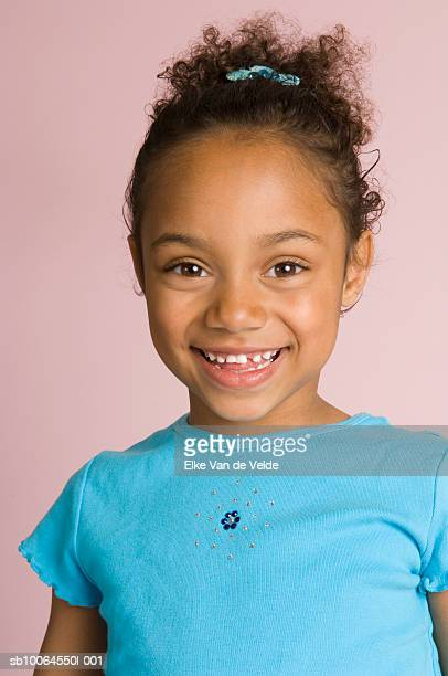 portrait of girl (6-7 years), studio shot - 6 7 years stock pictures, royalty-free photos & images