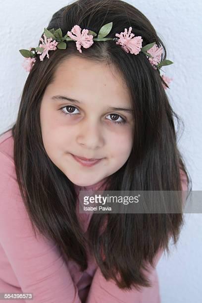 Portrait of girl wearing flower crown