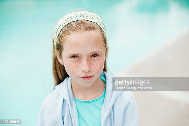 Portrait of girl (10-12)  wearing headband