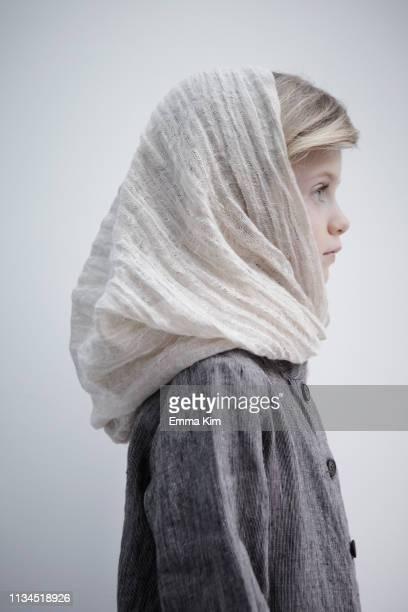 Portrait of girl wearing headscarf