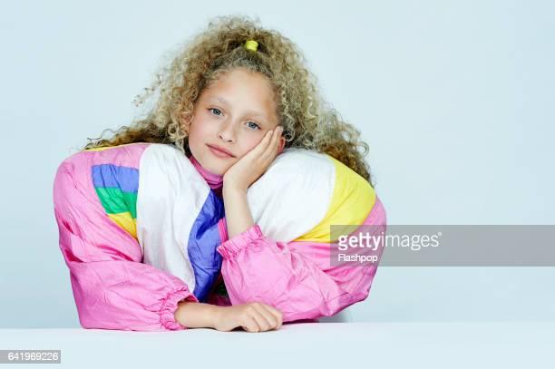Portrait of girl wearing huge jacket
