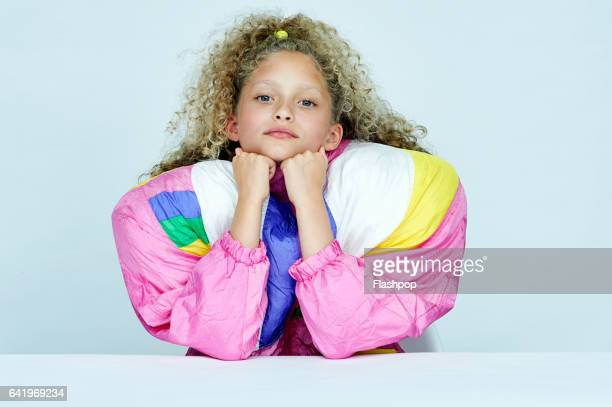 Portrait of girl wearing huge jacket