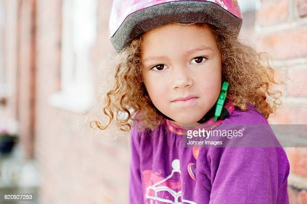 Portrait of girl wearing safety helmet