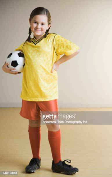 Portrait of girl wearing soccer outfit