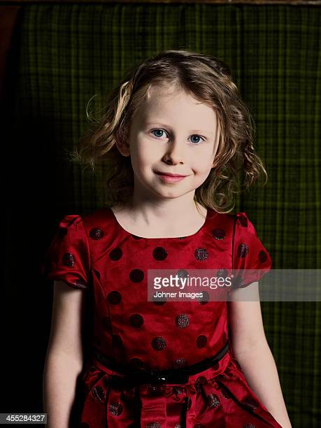 Portrait of girl wearing spotted dress