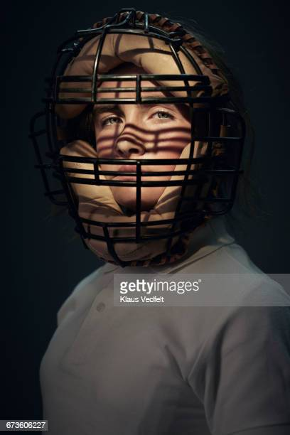 portrait of girl wearing vintage baseball mask - face guard sport stock pictures, royalty-free photos & images