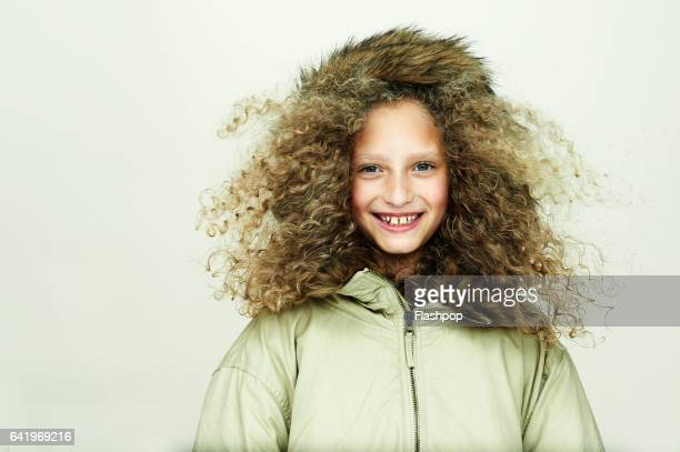 portrait of girl wearing winter coat - jacket stock pictures, royalty-free photos & images