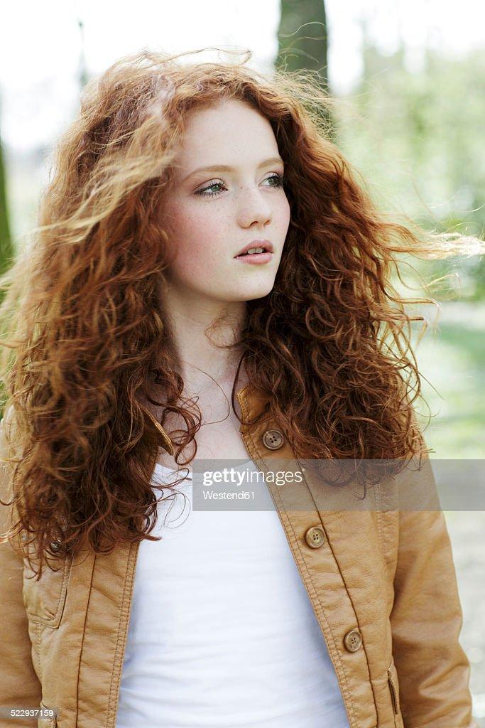 Curly redhead girl