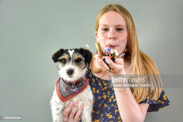 portrait of girl with dog blowing flowers against gray background - girl blows dog stock photos and pictures