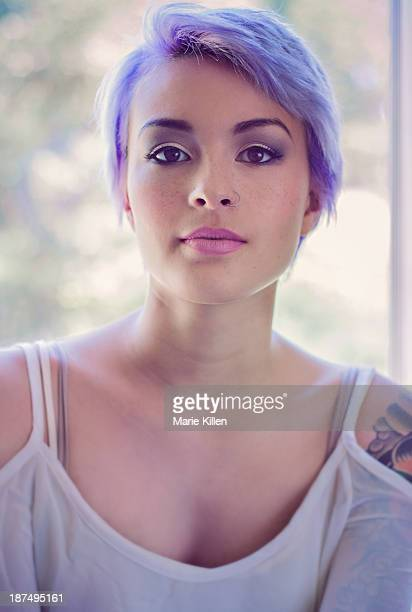 Portrait of girl with lavender pixie cut hair