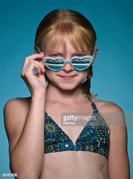 portrait of girl with sunglasses - budding tween stock photos and pictures