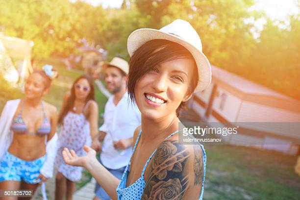 Portrait of girl with tatoo and hat