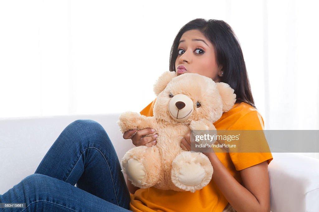 Portrait of girl with teddy bear : Stock Photo