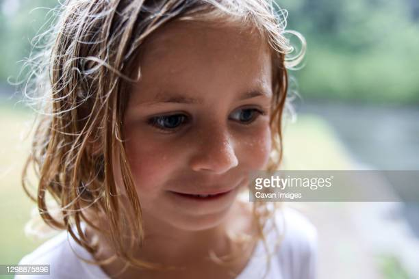 portrait of girl with wet hair and water droplets  on cheeks - damp lips stock pictures, royalty-free photos & images
