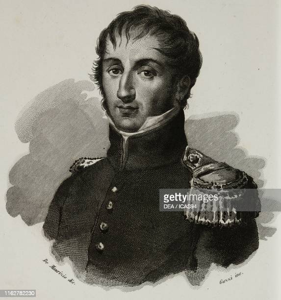 Portrait of Giuseppe Marieni Italian soldier engraving by Guzzi after a drawing by De Maurizio from Vite dei primarj marescialli e generali che...