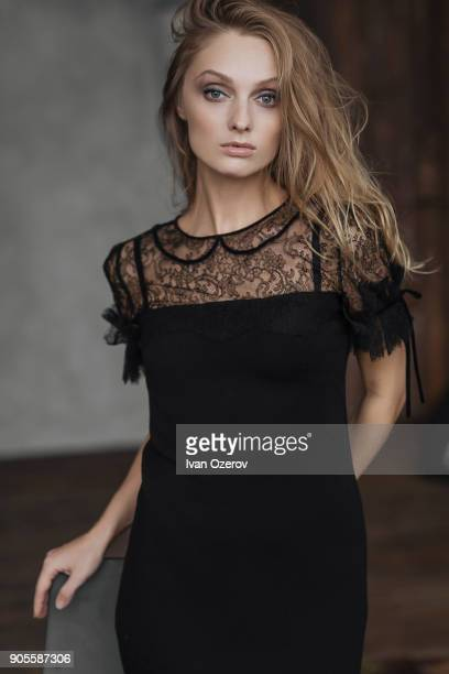 portrait of glamorous caucasian woman - lace dress stock pictures, royalty-free photos & images