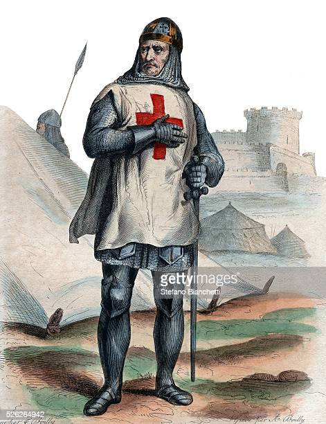 """Portrait of Godfrey of Bouillon , Frankish knight, one of the leaders of the First Crusade. Illustration from """"Le Plutarque Francais"""" by Edmond..."""