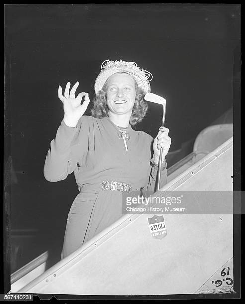 Portrait of golfer Mildred Didrikson commonly known as Babe Didrikson boarding a plane circa July 10 1947 From the Chicago Daily News collection