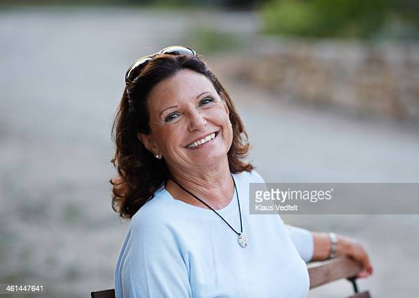 portrait of good looking mature woman - klaus vedfelt mallorca stock pictures, royalty-free photos & images