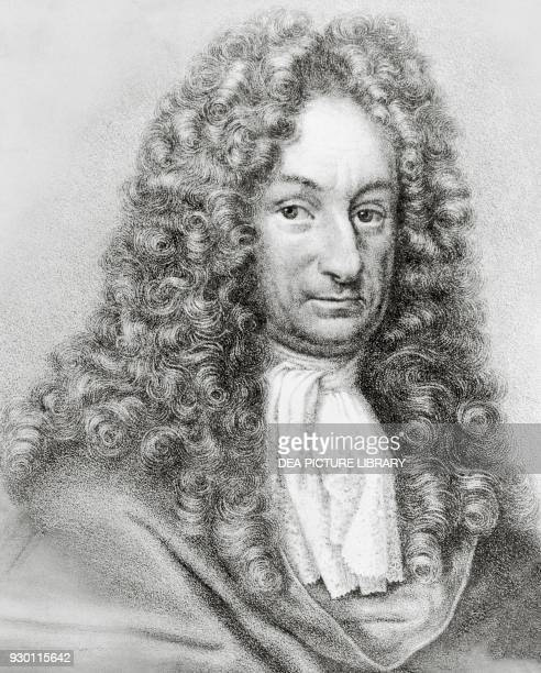 Portrait of Gottfried Wilhelm von Leibniz , German mathematician, philosopher and scientist, engraving.