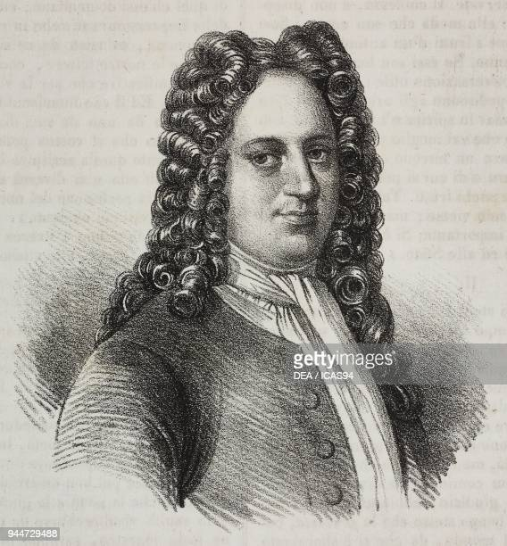 Portrait of Gottfried Wilhelm von Leibniz , German mathematician, philosopher and scientist, lithograph by Gaetano Riccio from Poliorama Pittoresco,...