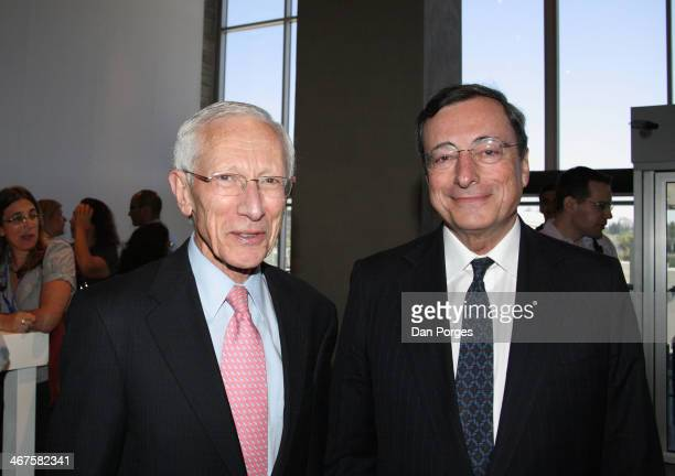 Portrait of Governor of the Bank of Israel Professor Stanley Fischer and President of the European Central Bank Mario Draghi as they pose together at...