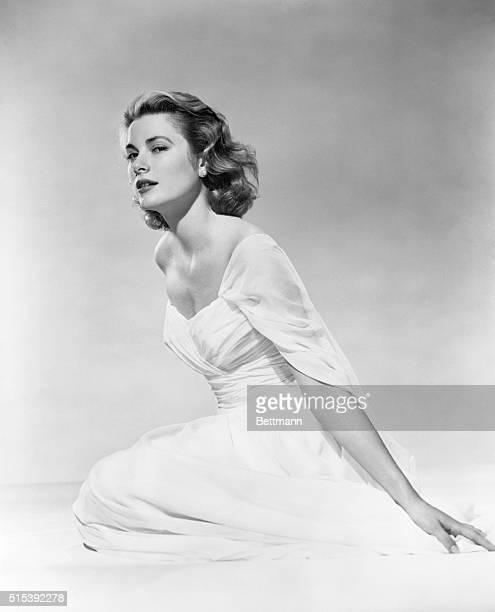 Portrait of Grace Kelly in 1956 wearing evening gown.