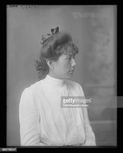 Portrait of Grace Waukon, a Native American Ponca Cherokee woman at the Louisiana Purchase Exposition, St Louis, Missouri, June 6, 1904. From Bureau...