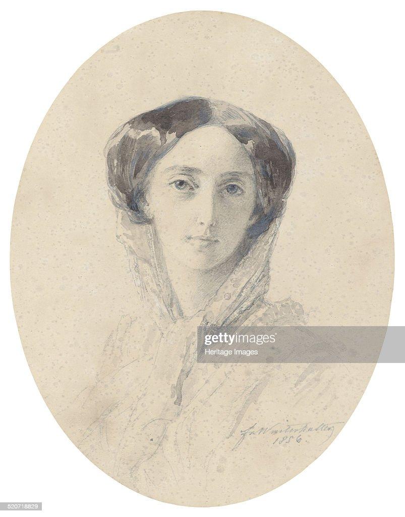 Portrait of Grand Duchess Olga Nikolaevna of Russia (1822-1892), Queen of Württemberg. Artist: Winterhalter, Franz Xavier (1805-1873) : News Photo