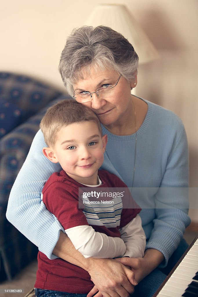 Portrait of grandmother and grandson : Foto de stock