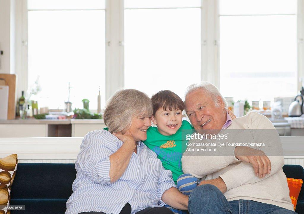 Portrait of grandparents and grandson : Stock Photo