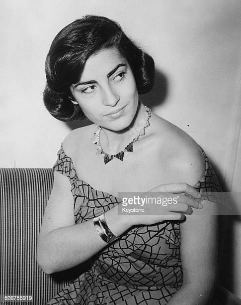 Portrait of Greek actress Irene Papas wearing an off the shoulder dress London June 24th 1954