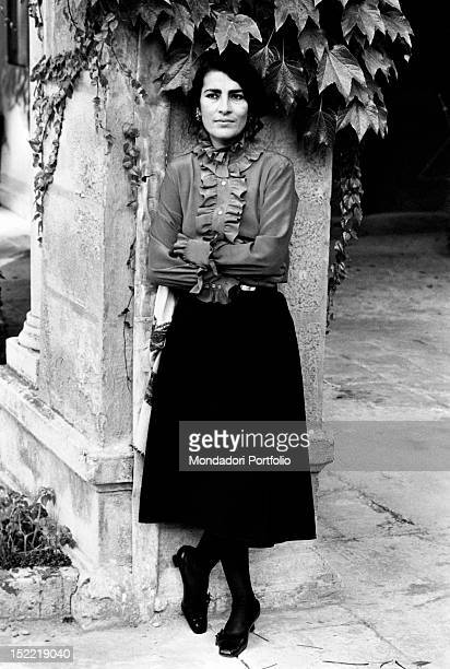Portrait of Greek actress Irene Papas with folded arms Venice 1970