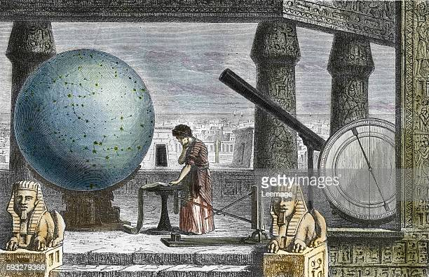 Portrait of greek scientist Claudius Ptolemy in the astronomical observatory of Alexandria Egypt Engraving from Laviedessavantsillustres by Louis...