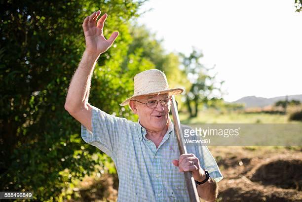 Portrait of greeting farmer