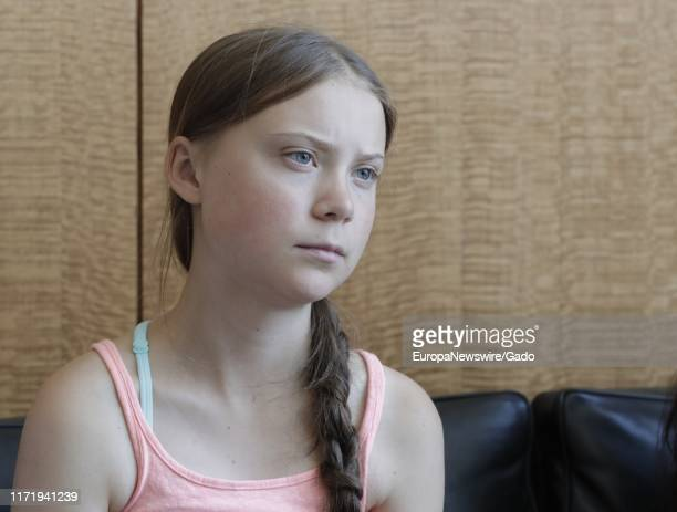Portrait of Greta Thunberg a 16 year old climate activist from Sweden at the UN headquarters in New York City New York August 30 2019