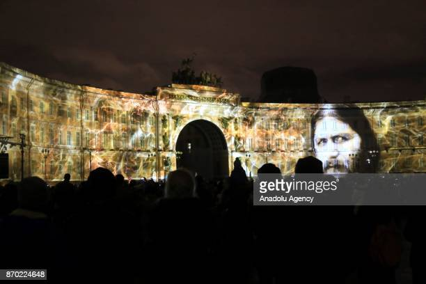 Portrait of Grigori Rasputin is seen during the light show '1917' on General Staff building to mark the 100th anniversary of the Bolshevik Revolution...