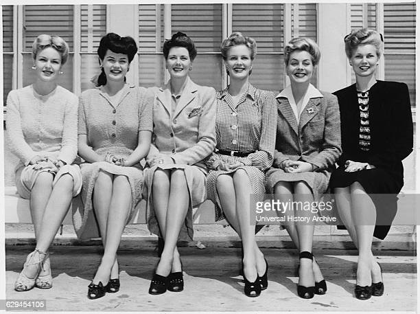 Portrait of Group of MGM Actresses all over 6 feet tall Dorothy Mace Dorothy Ford Sylvia Liggett Helen O'Hara Susan Paley Bunny Water 1943