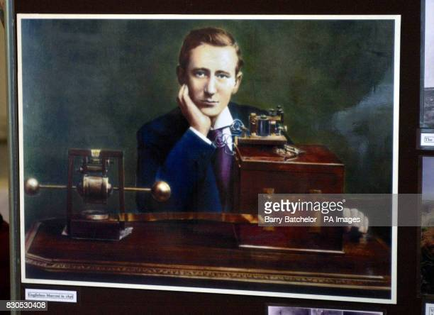 A portrait of Guglielmo Marconi in 1896 hanging at Bass Point on the Lizard Peninsula Cornwall the oldest surviving purpose built radio station in...
