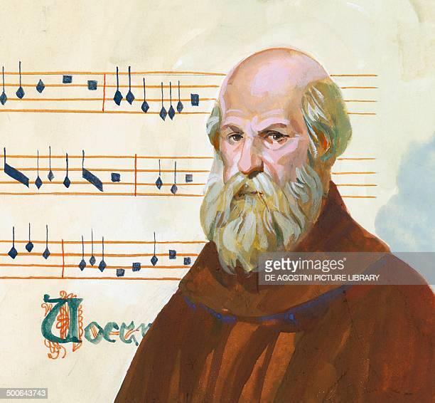 Portrait of Guido d'Arezzo Guido Monaco or Guido Pomposa benedictine monk Italian music theorist illustration