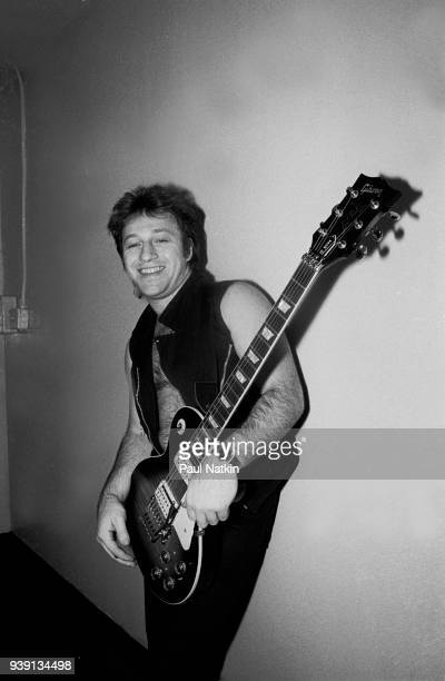 Portrait of guitarist Aldo Nova at the Aragon Ballroom in Chicago Ilinois November 25 1983