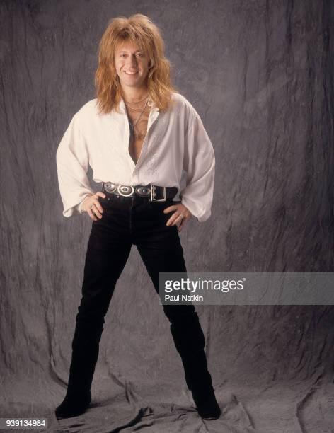 Portrait of guitarist Aldo Nova in a photo studio in Chicago Illinois April 2 1991