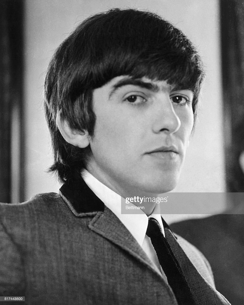 Portrait of guitarist George Harrison of The Beatles, circa 1965.